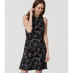 Loft Sketched Floral Sleeveless Flare Dress